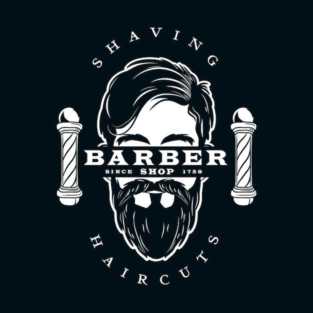 暗い背景に理髪店のロゴ 無料ベクター