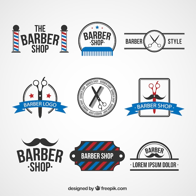 barber shop logo templates vector free download