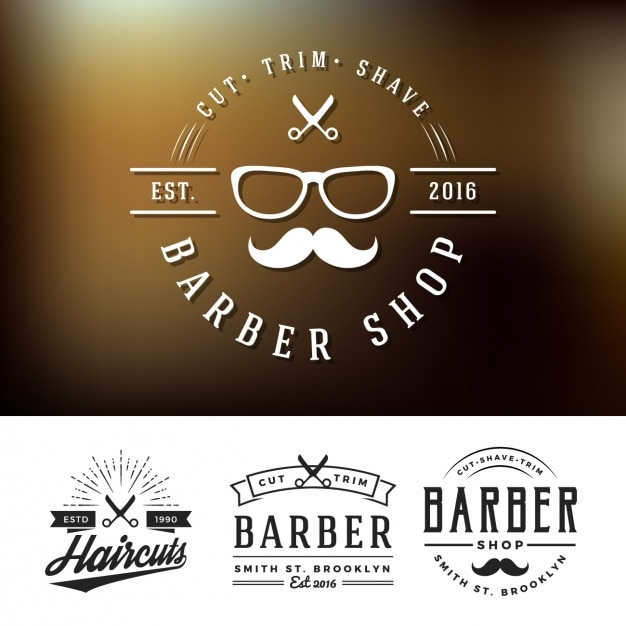 Barber shop logos set Vector | Free Download