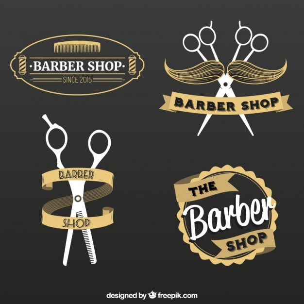 Barber shop logos set Vector | Free Download