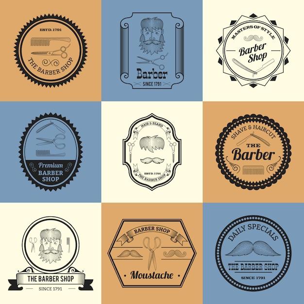 Barber shop logos Free Vector