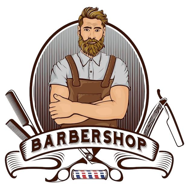 Barber shop mascot Premium Vector