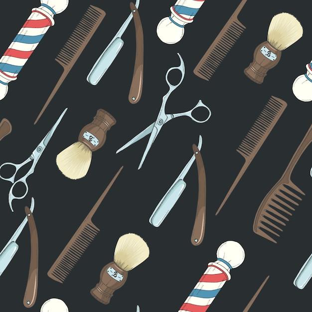 Парикмахерская бесшовные модели с цветными ручной обращается бритва, ножницы, кисточка для бритья, расческа, классическая парикмахерская полюс на черном. Premium векторы