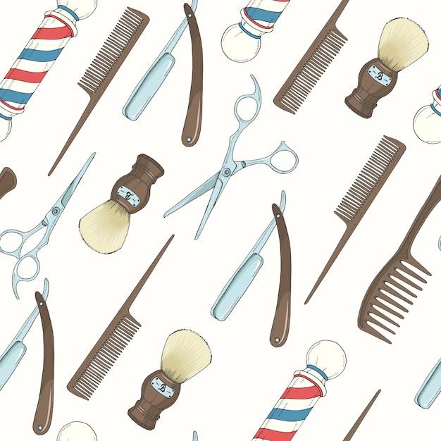 Barber shop seamless pattern with colored hand drawn razor, scissors, shaving brush, comb, classic barber shop pole. Premium Vector