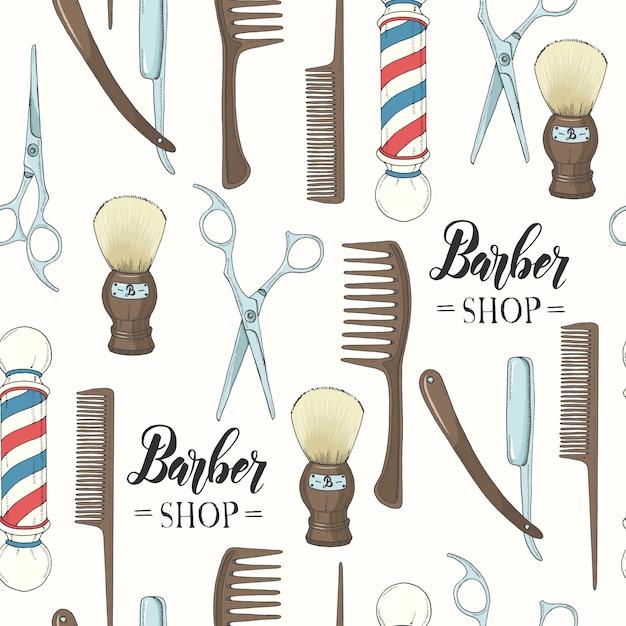 Парикмахерская бесшовные модели с рисованной бритвой, ножницами, кисточкой для бритья, расческой, классической парикмахерской полюс. Premium векторы