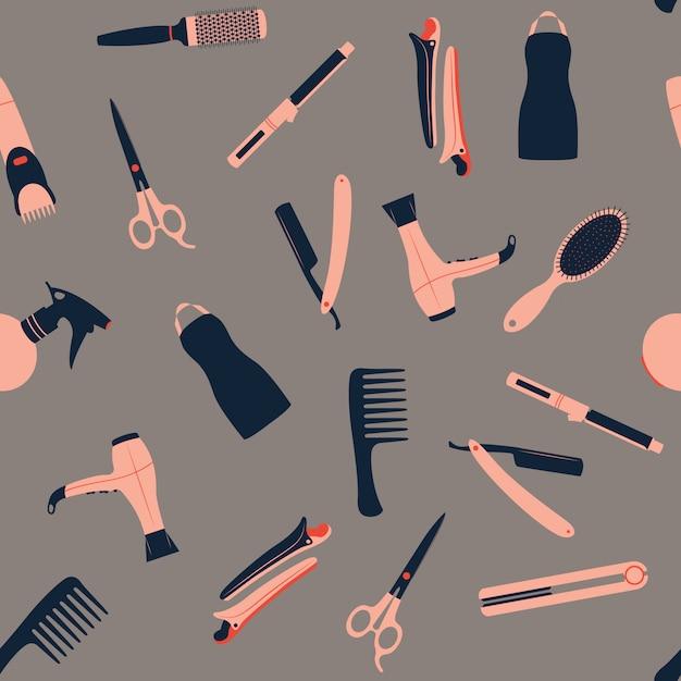 Barber shop seamless pattern Premium Vector
