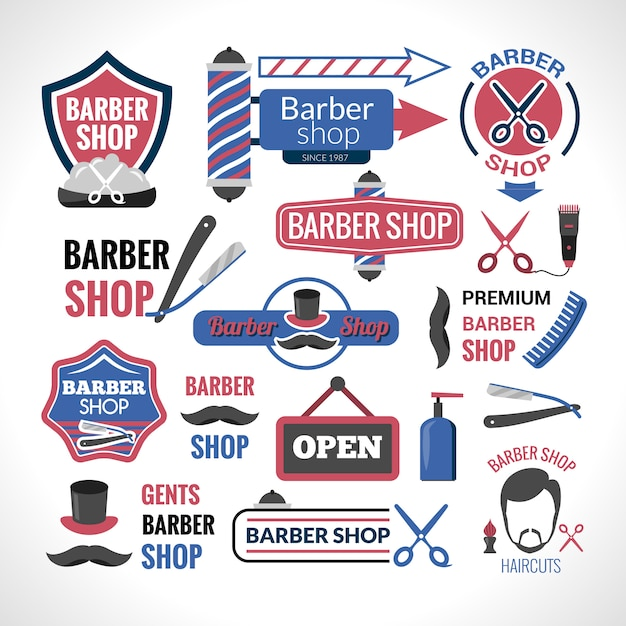 Barber shop symbols signs labels collection Free Vector