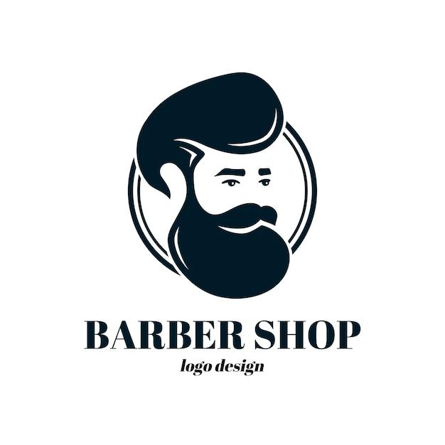 バーバーショップテンプレートロゴ。イラストアイコン。白で隔離。流行に敏感な男、ビンテージ理髪店 Premiumベクター