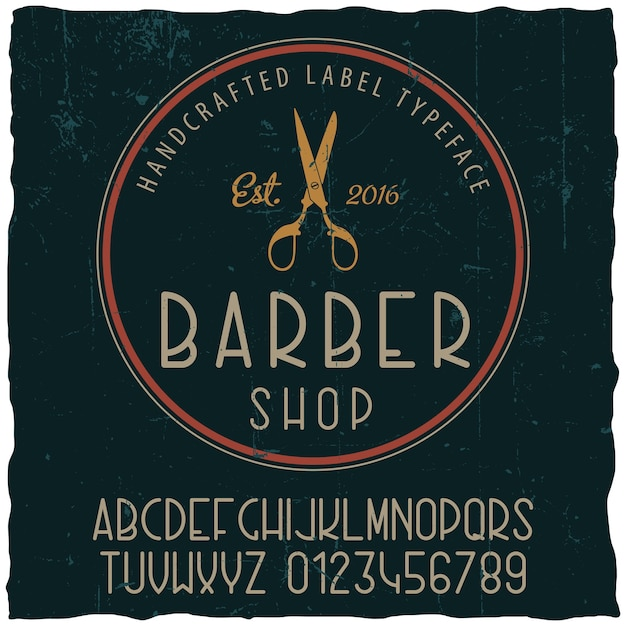 Barber shop typeface poster with sample label design on dusty Free Vector