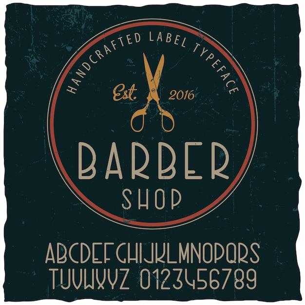 Poster di carattere tipografico del negozio di barbiere con disegno di etichetta di esempio su polveroso Vettore gratuito