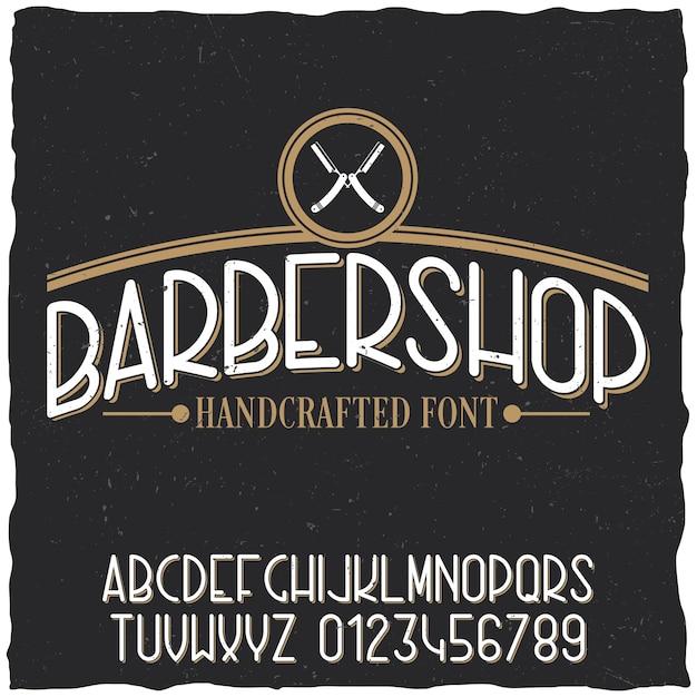 Постер для парикмахерской с образцом дизайна этикетки на пыльной Бесплатные векторы