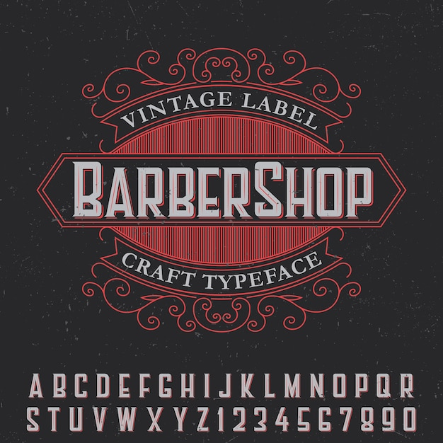 Barber shop vintage label poster with craft typeface on black Free Vector