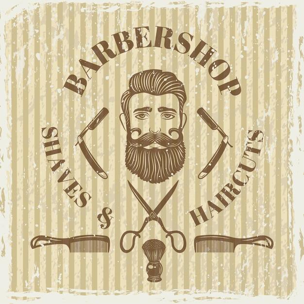 Barber shop vintage poster. Premium Vector