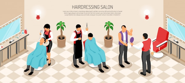 Barber shop with interior elements hair dressers and customers of male salon isometric horizontal Free Vector