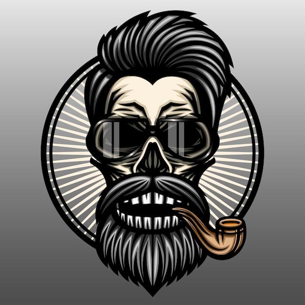 喫煙パイプ付き床屋の頭蓋骨。 Premiumベクター