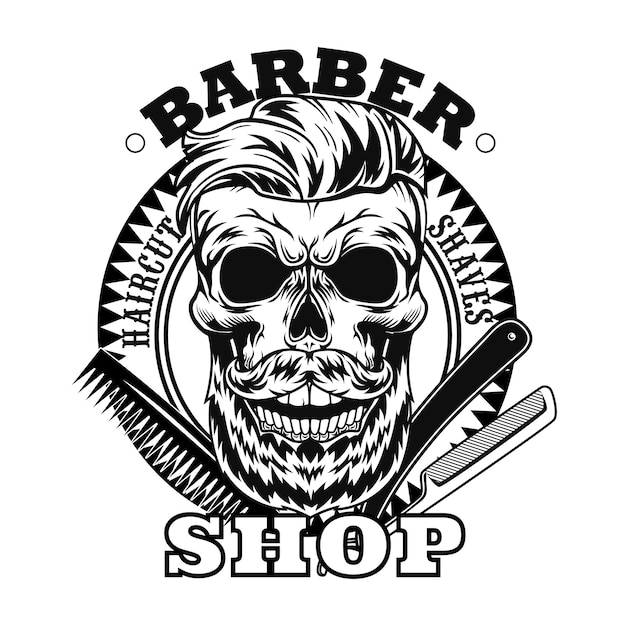 Barber tools and bearded skull vector illustration. shaving razor and comb, circular stamp with text sample Free Vector