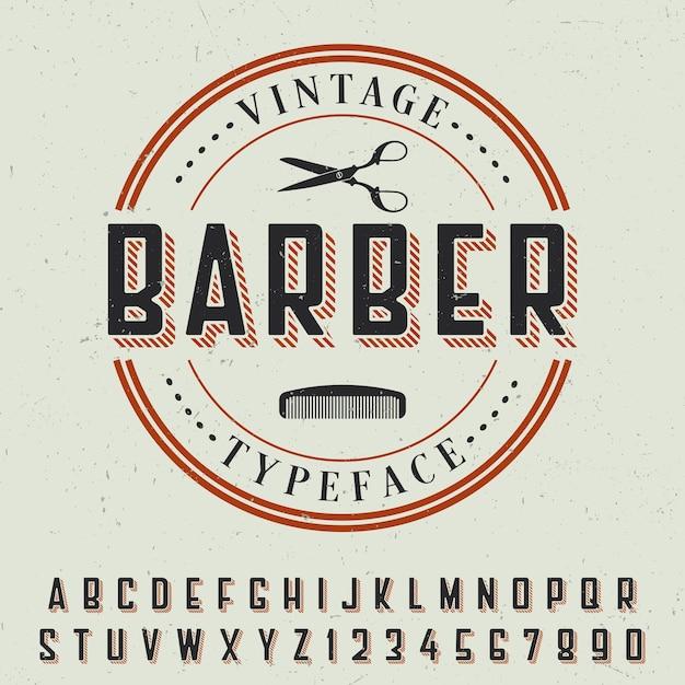 Poster di carattere tipografico vintage barbiere con disegno di etichetta di esempio su grigio Vettore gratuito