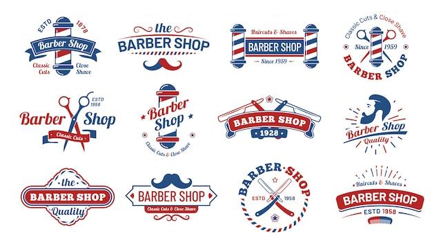 理髪店のバッジ。ビンテージバーバーラベル、レトロなひげそりサロンバッジ、紳士散髪古い看板イラストセット Premiumベクター