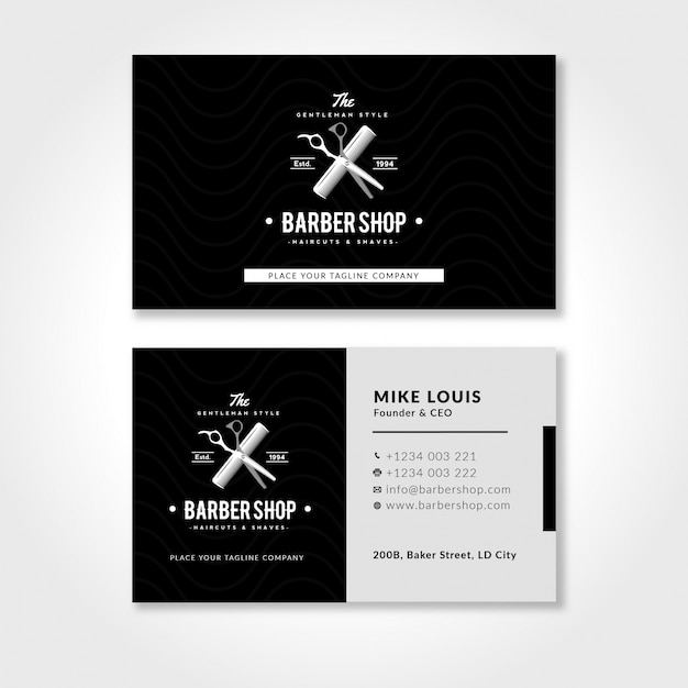Barbershop business card template with black and white vector barbershop business card template with black and white premium vector flashek