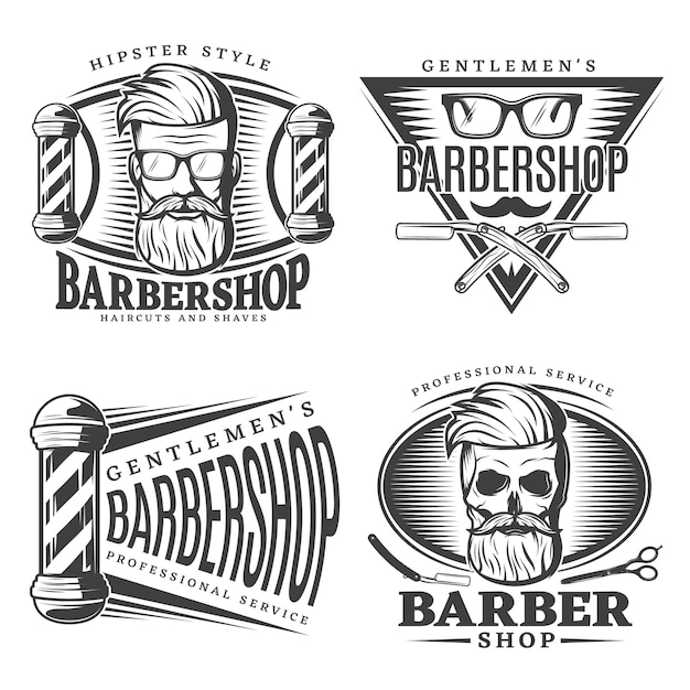 Barbershop emblems elements set Free Vector