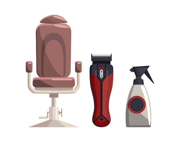 理髪店の機器。ヴィンテージ理髪店のセット商品です。椅子トリマー噴霧器。散髪サロンデザイン要素。 Premiumベクター