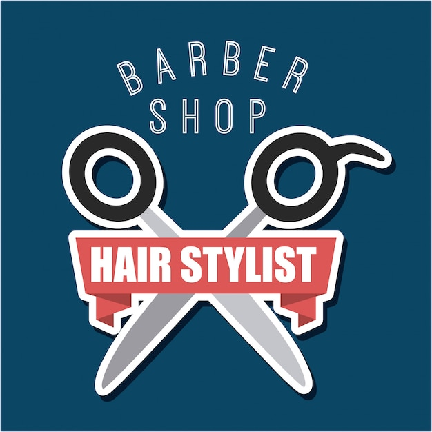 Barbershop and hair stylist logotype Free Vector