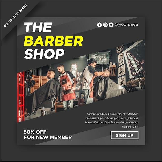 Barbershop instagram template design social media post Premium Vector