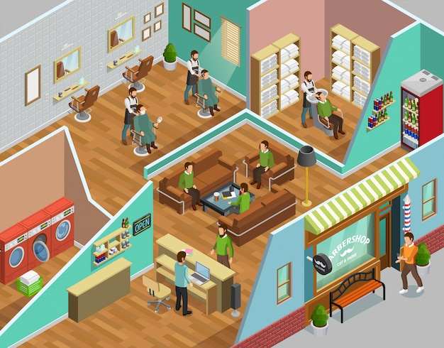Barbershop interior isometric illustration Free Vector