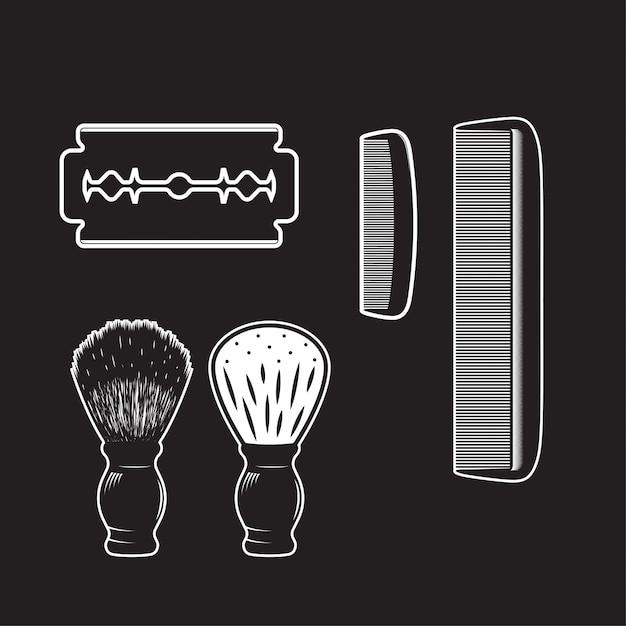 Barbershop item vintage isolated high detailed Premium Vector
