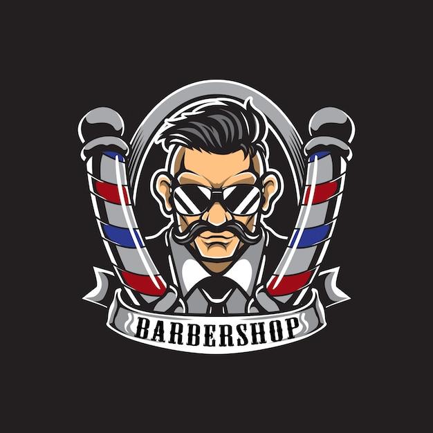 理髪店のロゴと名刺 Premiumベクター
