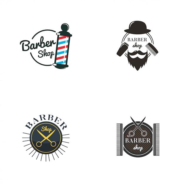 Barbershop logo collection Premium Vector