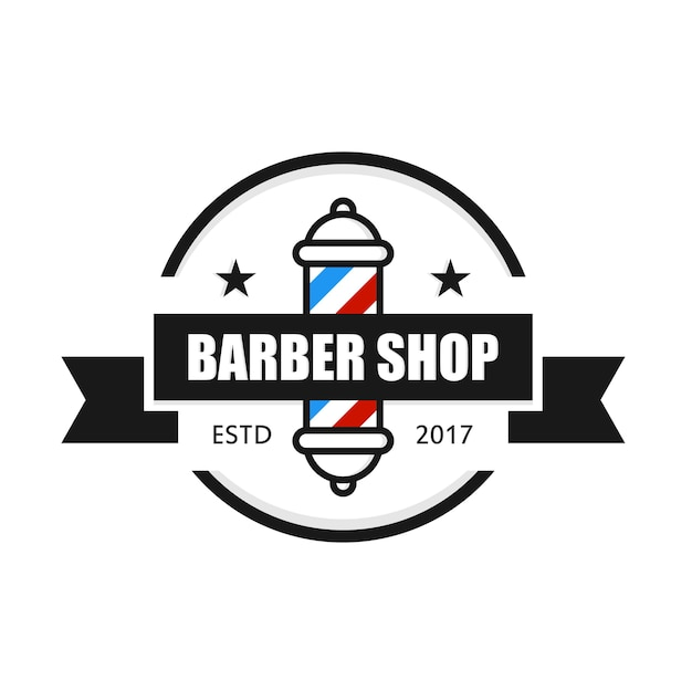 barbershop logo design template vector premium download