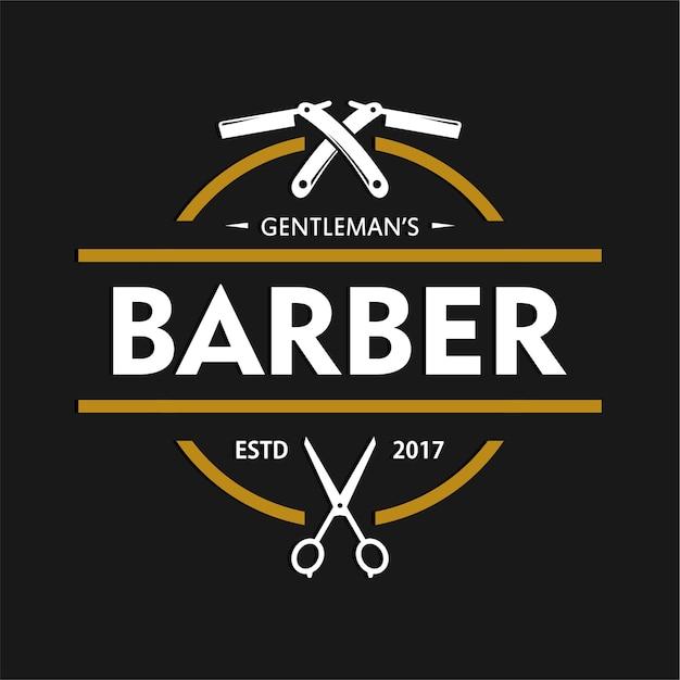 barbershop logo design template vector premium download