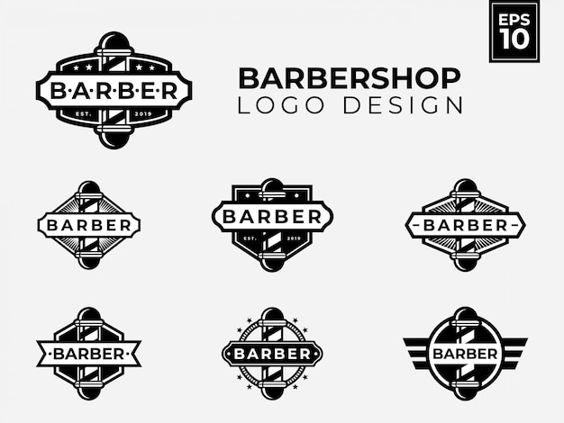 Barbershop logo design with vintage and retro style for your barber bsiness Premium Vector
