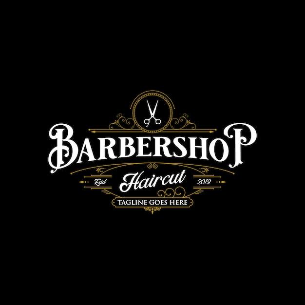 Barbershop logo design. Premium Vector