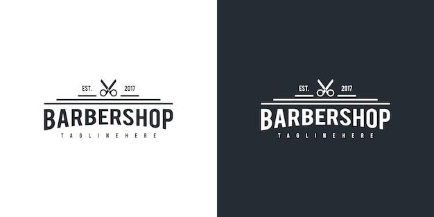 Barbershop logo design Premium Vector