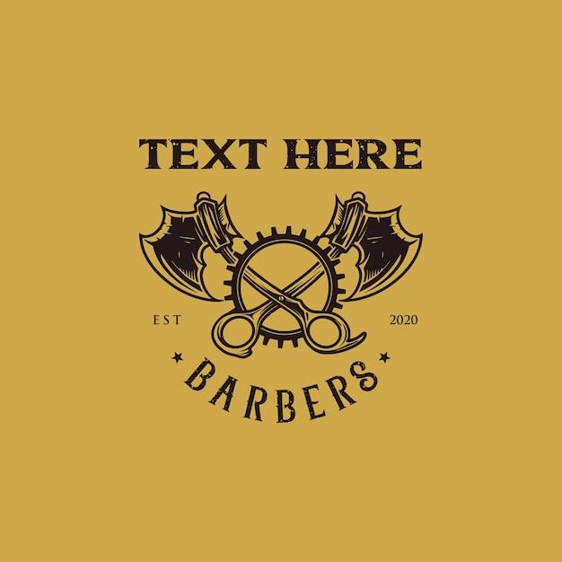 Ножницы и топор с логотипом для парикмахерских Premium векторы