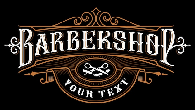 理髪店のロゴ。暗い背景にヴィンテージのレタリングのイラスト。すべてのオブジェクト、テキストは別々のグループにあります。 Premiumベクター