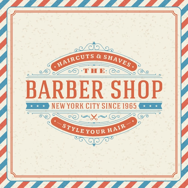 Barbershop logo with flourish ornament vignettes and typographic Premium Vector