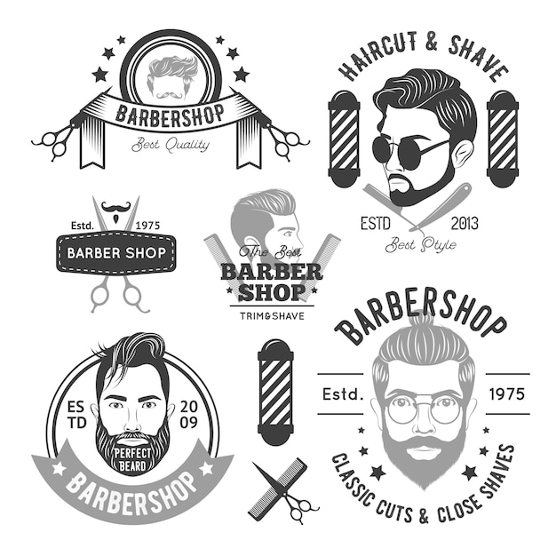 Barbershop monochrome emblems Free Vector
