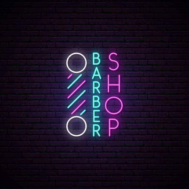 Barbershop neon sign. Premium Vector