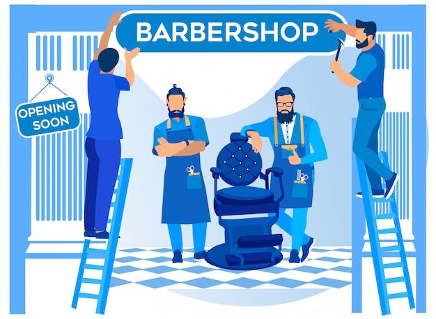 Barbershop opening, workers hanging signboard Premium Vector