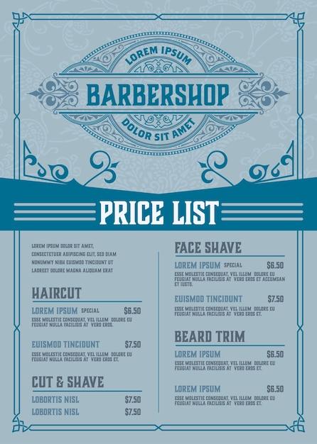 Прайс-лист парикмахерской синий плакат Premium векторы
