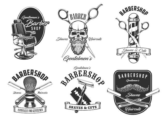 Barbershop shaves and haircut salon icons illustration design Premium Vector
