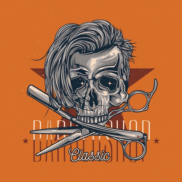 Barbershop theme t-shirt label design with illustration of hairy skull, razor and scissors Free Vector