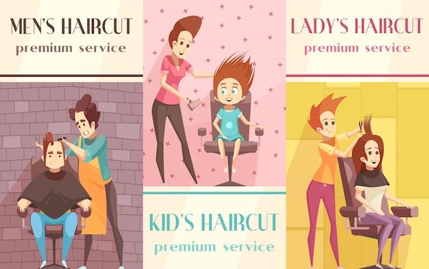 理髪店の垂直バナーセット 無料ベクター