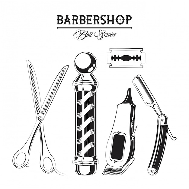 Barbershop vintage emblem Premium Vector