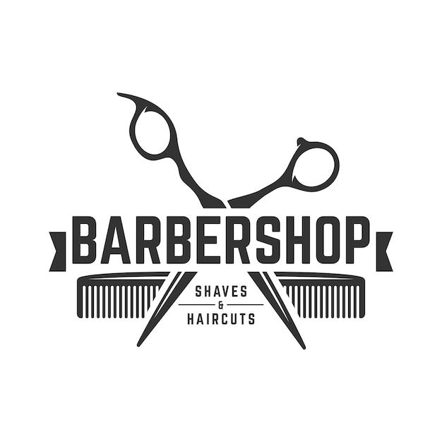 Barbershop vintage logo template Premium Vector