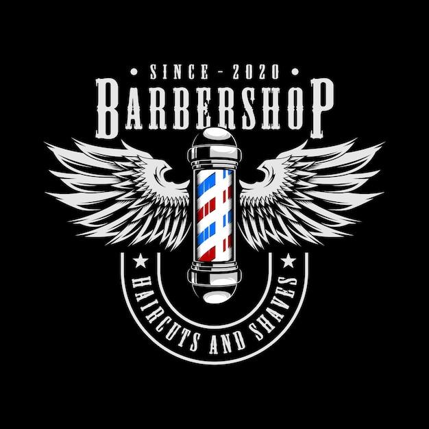 理髪店の翼のロゴ Premiumベクター