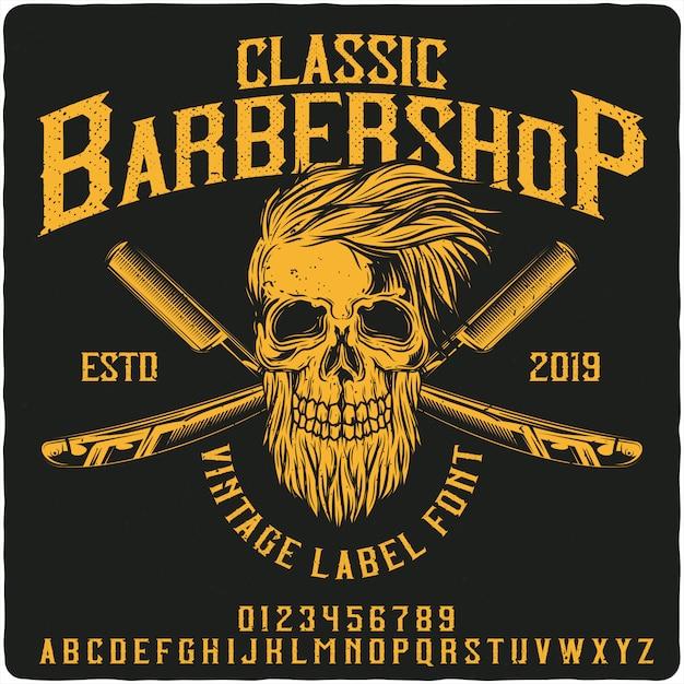 Классический шрифт для старинных этикеток barbershop Premium векторы